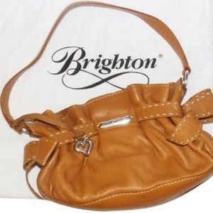 Brighton Mindy bow tan leather shoulder bag